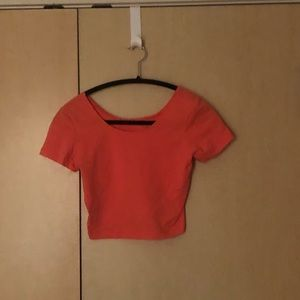 ⭐️ 5 for $25 Neon coral crop t shirt